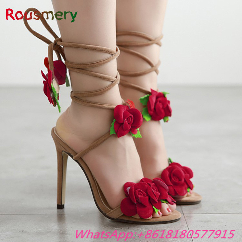 Attractive Elegant Flower Decoration Thin High Heels Woman Sandals Summer Fashion Party Gladiator Lace-Up Zapatos Mujer Tacon