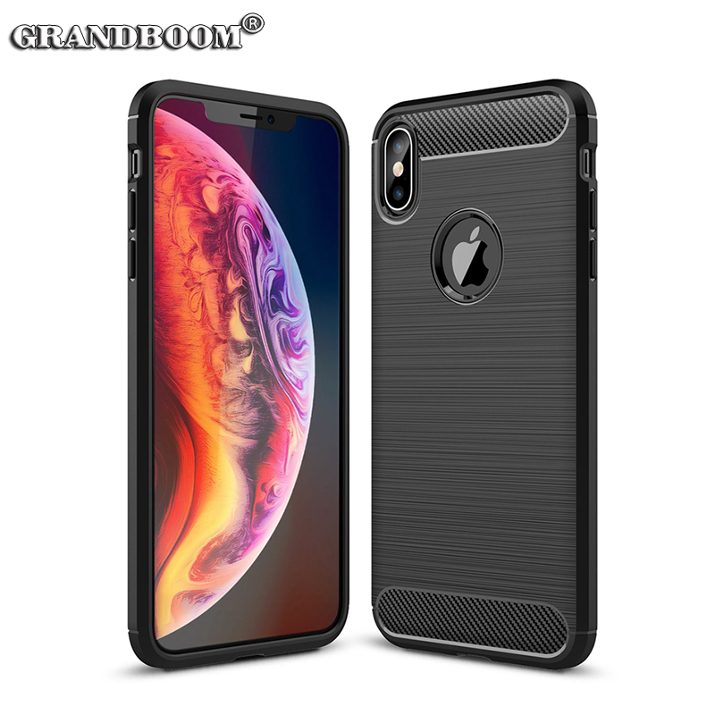 1c7e577487d Carbon Fiber Soft TPU Case For iPhone XS Max XR X 8 Plus 7 6 6S SE 5S 5  Hybrid Rugged Brushed Armor Silicone Shockproof Cover