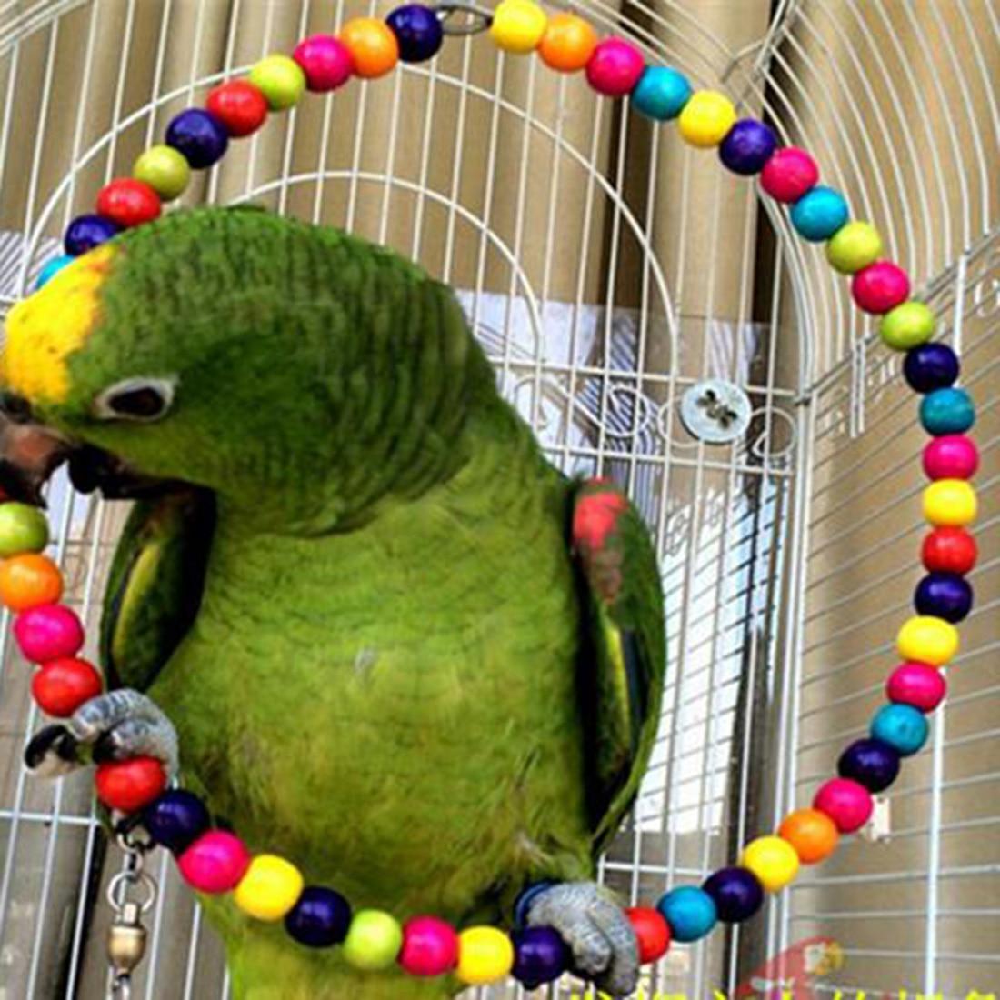 Новая забавная Радужная бусина 100 см Качели Попугай лестница для Птиц Деревянная игрушка для домашних животных аксессуары для домашних животных