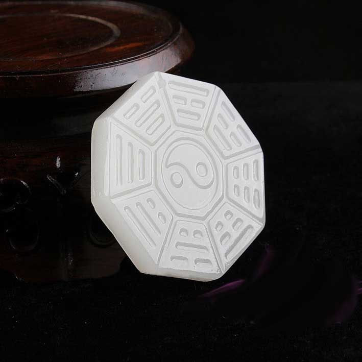Natural <font><b>Afghanistan</b></font> White Stone Pendant Necklace 3D Handmake Carved Chinese bagua Round Men's Jewelry Pendants With Rope image