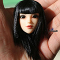 """Girl Doll Head Sculpts 1/6 Black Hair Female Head Carving Model Toys F 12"""" Female Action Figures Body Accessory Kids Collections"""