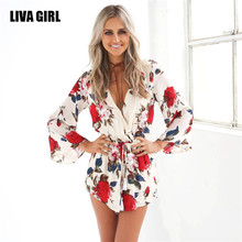 liva girl summer sexy deeply V-neck tight camisole women neckerchief jumpsuits women Printing playsuits