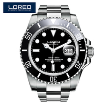 LOREO Austrian diamond automatic mechanical men luxury brand diver Black Dial Rotatable Bezel Luminous Men Stainless Steel Watch