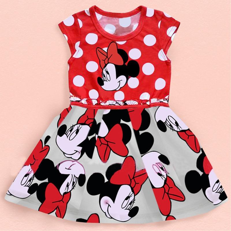 Модные летние платья для девочек New Minnie Baby Girls Dress Симпатичные платья принцессы Софии Мультфильм Микки Vestidos Infantis Elsa