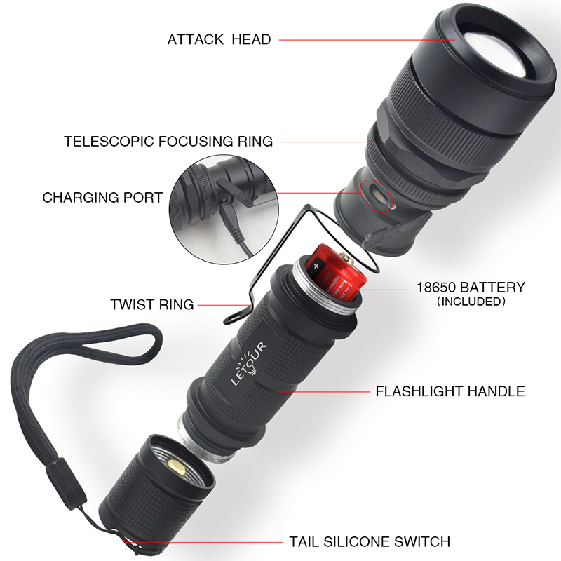 Flashlight LED Cree T6 Tactical Flashlight 12W 1000Lumens 5 Dimmer Levels Camping Lanterns Waterproof USB Charging 18650 Battery