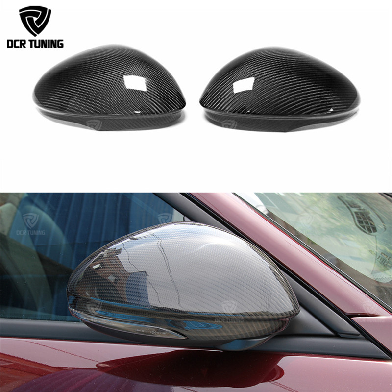 цена For Alfa Romeo Giulia Carbon Fiber Rear View Mirror Cover Side Mirror Caps Black Finish 2016 - UP Romeo Giulia Spoiler QV Style