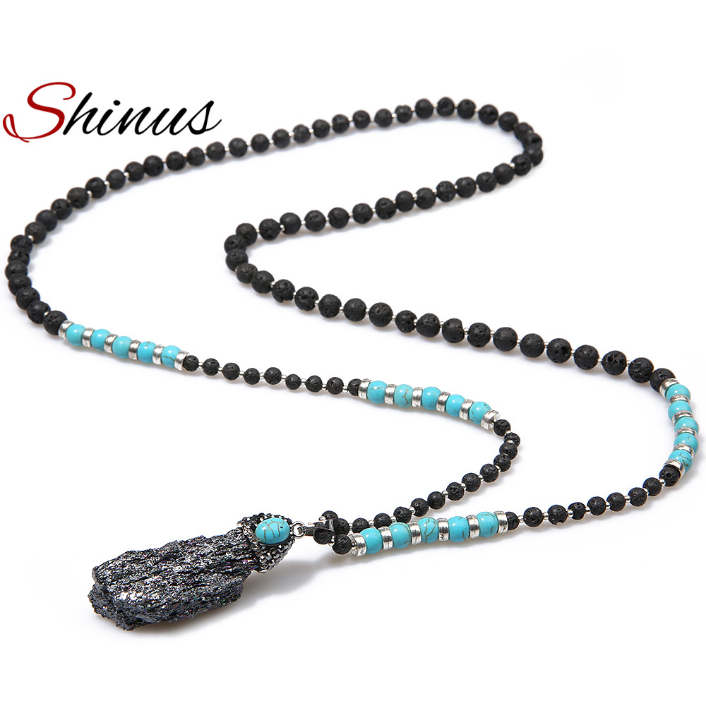 Mens Native American Beads: Shinus Natural Stone Pendant Necklace Women Necklaces