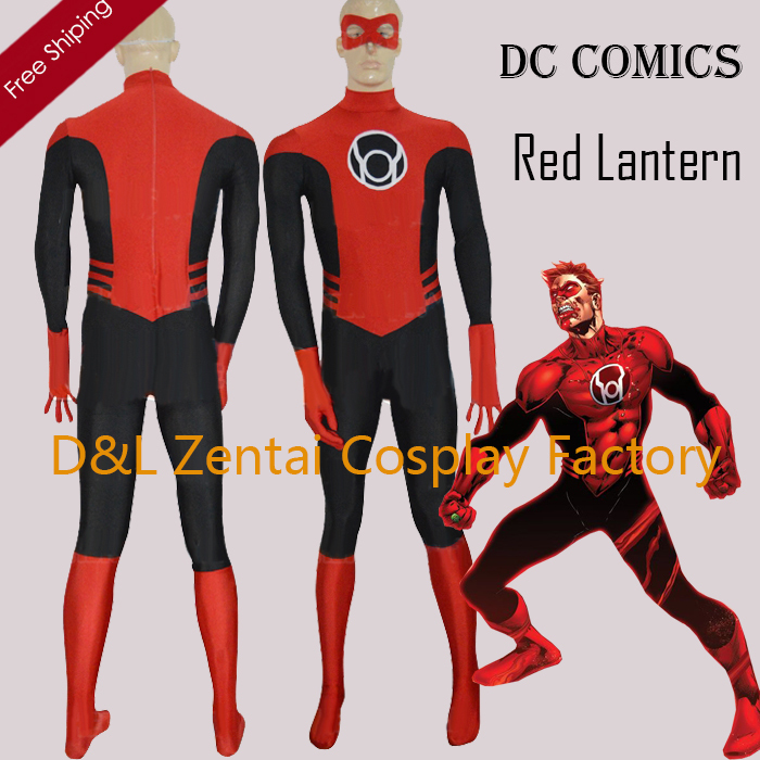free shipping dhl red lantern corps dc comics mens superhero costume halloween party cosplay black and red lycra suit sh1754 - 100 Best Halloween Costumes