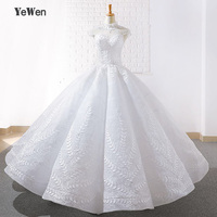 YEWEN White Wedding Formal Dresses Unique Lace Floor lenght Gowns vestido de festa longo 2018 Ball Gowns lowers For Wedding