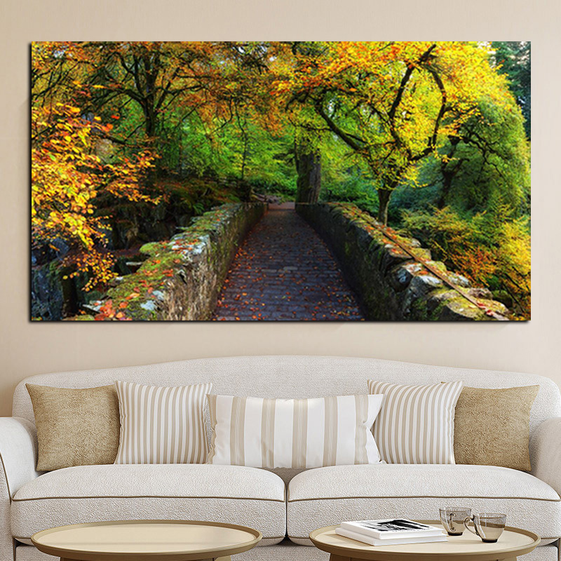 Print 3D Natural Autumn Scenery Landscape Modern Oil Painting on Canvas Art Wall Picture for Living Room Cuadros Decoration