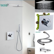 BECOLA Quick open 2Function Bathroom Brass faucet Wall chrome shower set cold and hot water 10 inch stainless steel shower цена