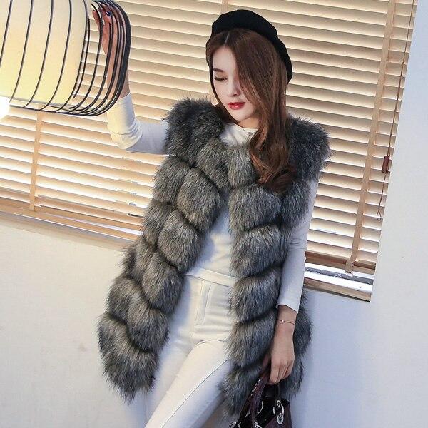Women s faux fox fur vest coat medium long 2015 female fox fur vest outerwear BIG