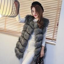 Женщины искусственного лисий мех жилет пальто средний — длинная женское лисий мех жилет верхняя одежда большой размер XL-6XL