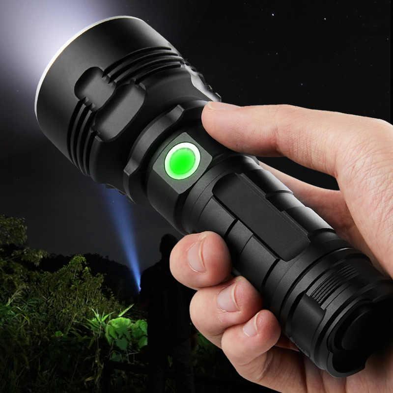 סופר חזק LED פנס L2 XHP50 טקטי לפיד USB נטענת Linterna עמיד למים מנורת אולטרה בהיר פנס קמפינג