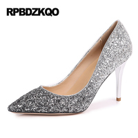 Evening Slip On Silver Glitter Shoes Gold Sexy Pointed Toe High Heels Women Pumps 3 Inches