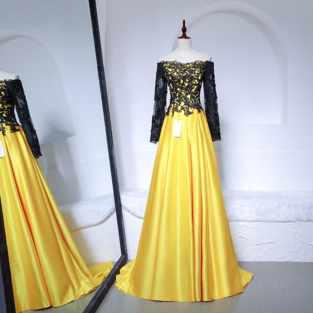 Élégant à manches longues une ligne robes De soirée Appliques noir dentelle Court Train robe formelle pour les femmes Vestido De Festa Long bal