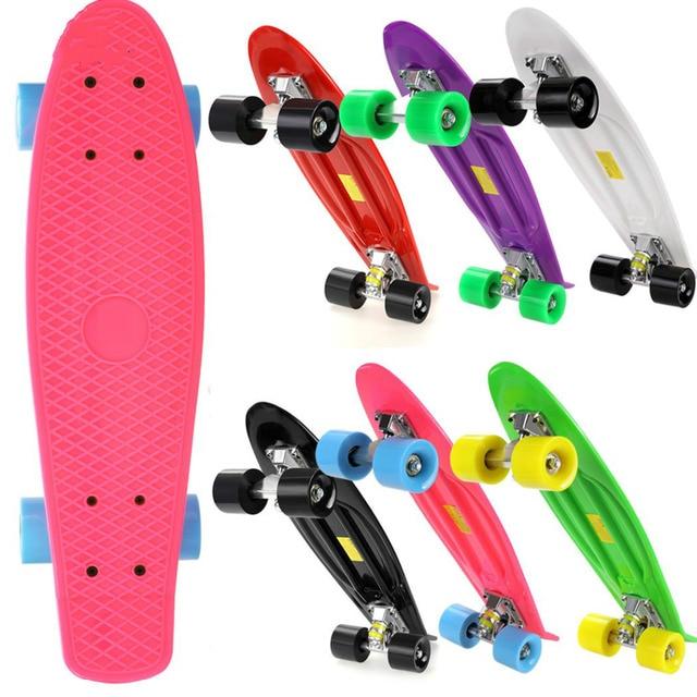 Новый Многоцветный Professional унисекс укомплектованный скейтборд двухслойные дети двойной дракон скейтборд мини дети пластик скейтборды Лидер продаж