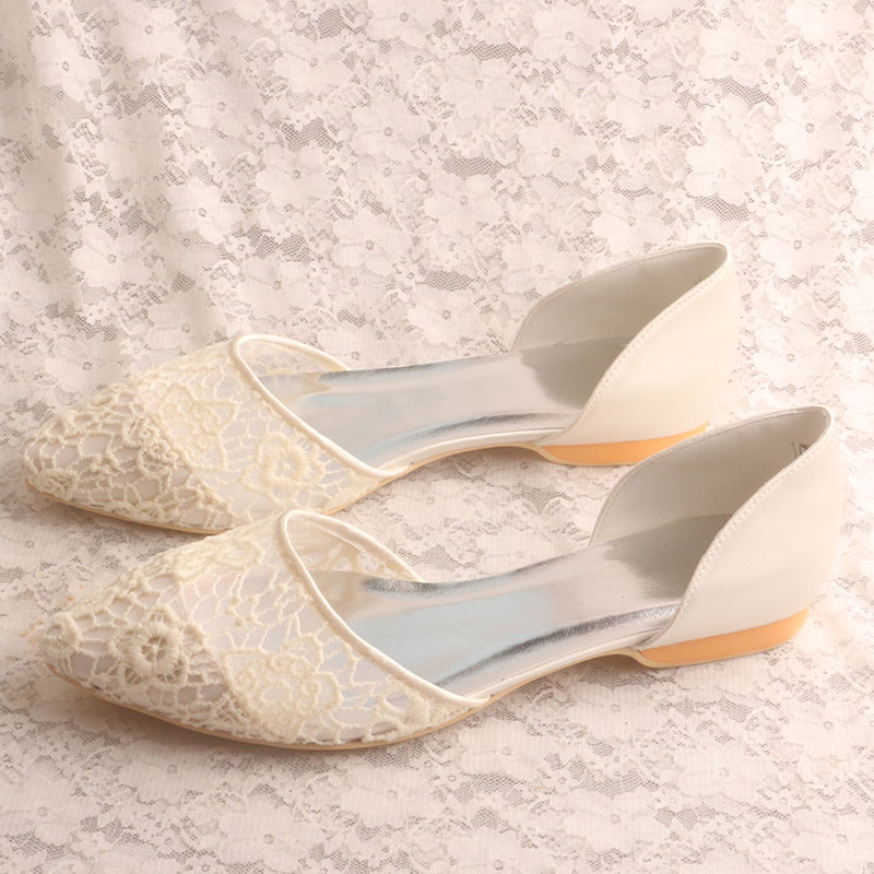 Comfortable Court Shoes For Women Wedding Pointed Toe Ballet Bridal Flat Lace