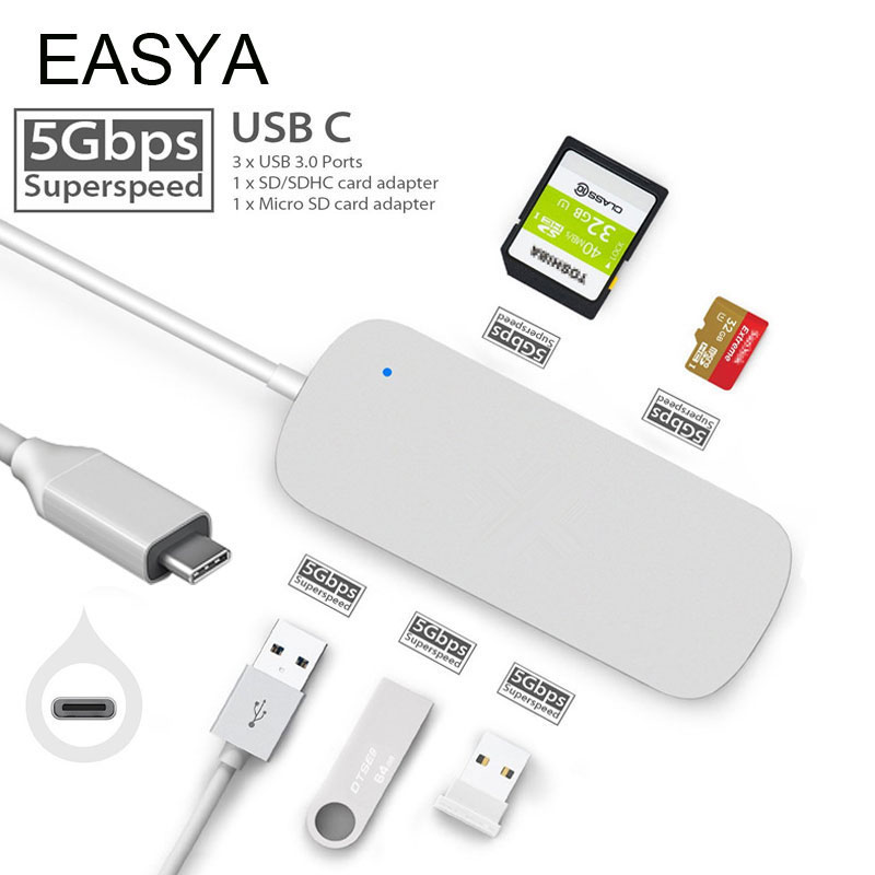 EASYA Multi-Port USB C Hub Adapter USB 3.0 Hub USB Type-c Hubs Dock with SD TF Card Reader Slot Silver for MacBook Pro 2017 dual usb 3 1 type c hub to card reader usb c hub 3 0 adapter combo with tf sd slot for macbook pro 2016 2017 usb c power deliver