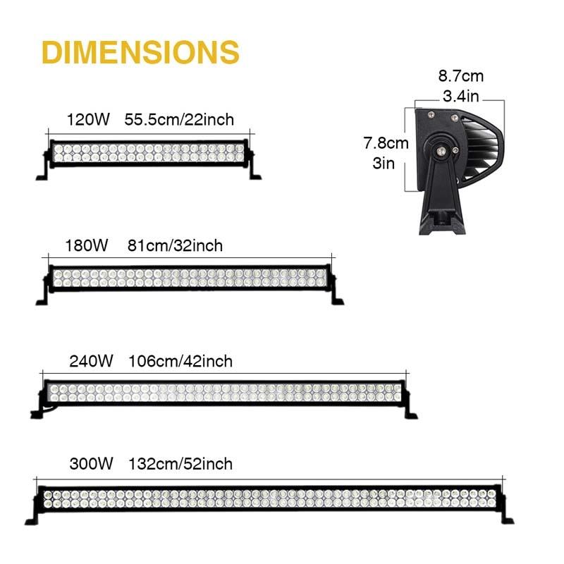 120 w 180 w 240 w 300 w 22 32 42 52 pouce Offroad LED Light Bar Travail Lumière 12 24 v Combo Faisceau Spot pour Camion UAZ Bateau 4x4 SUV ATV