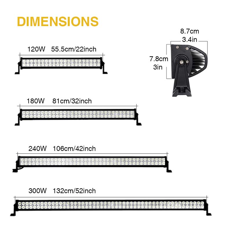120w 180w 240w 300w 22 32 42 52 Inch Offroad Led Light Bar Work Light 12 24v Combo Beam Spotlight For Truck Uaz Boat 4x4 Suv Atv