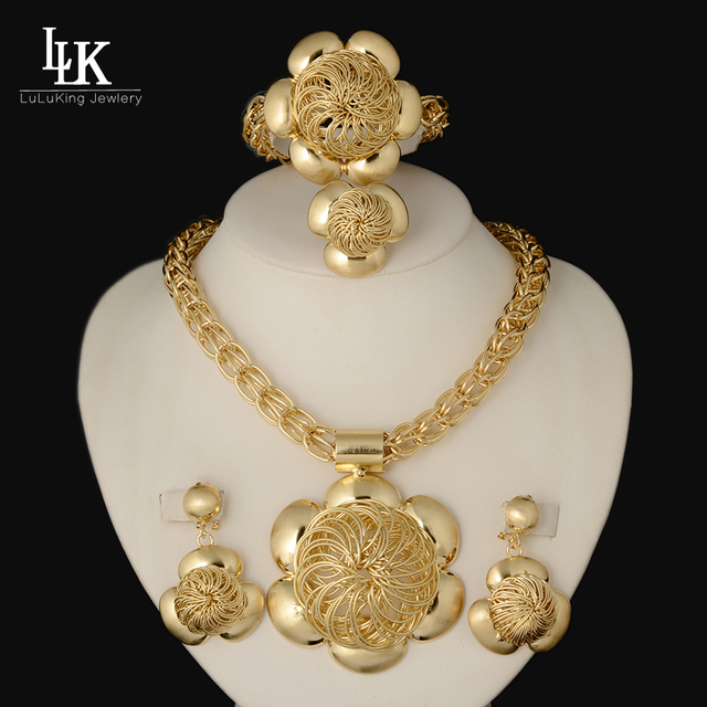 High Quality Jewelry Set 24K Gold Folwer Pendant Necklace Earrings Bracelet Dubai Gold Plated African Costume Jewelry Sets Women