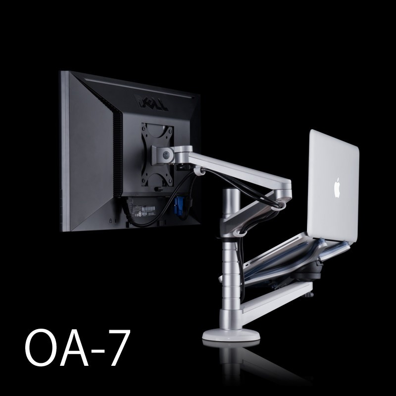 OA-7 Multimedia Desktop 25 inch LCD Monitor Holder+ Laptop Holder Stand Table Dual Monitor Mount Arm Bracket Stand Base loctek d5f2 dual use notebook laptop mount arm monitor holder with usb fan lapdesk for 15 6 inch laptop and 10 27 monitor