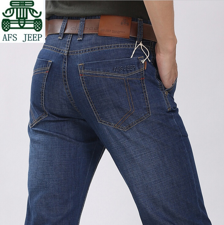 AFS JEEP Autumn Summer Light Elasticity Real Men s Straight Casual Jeans Good Quality Man s
