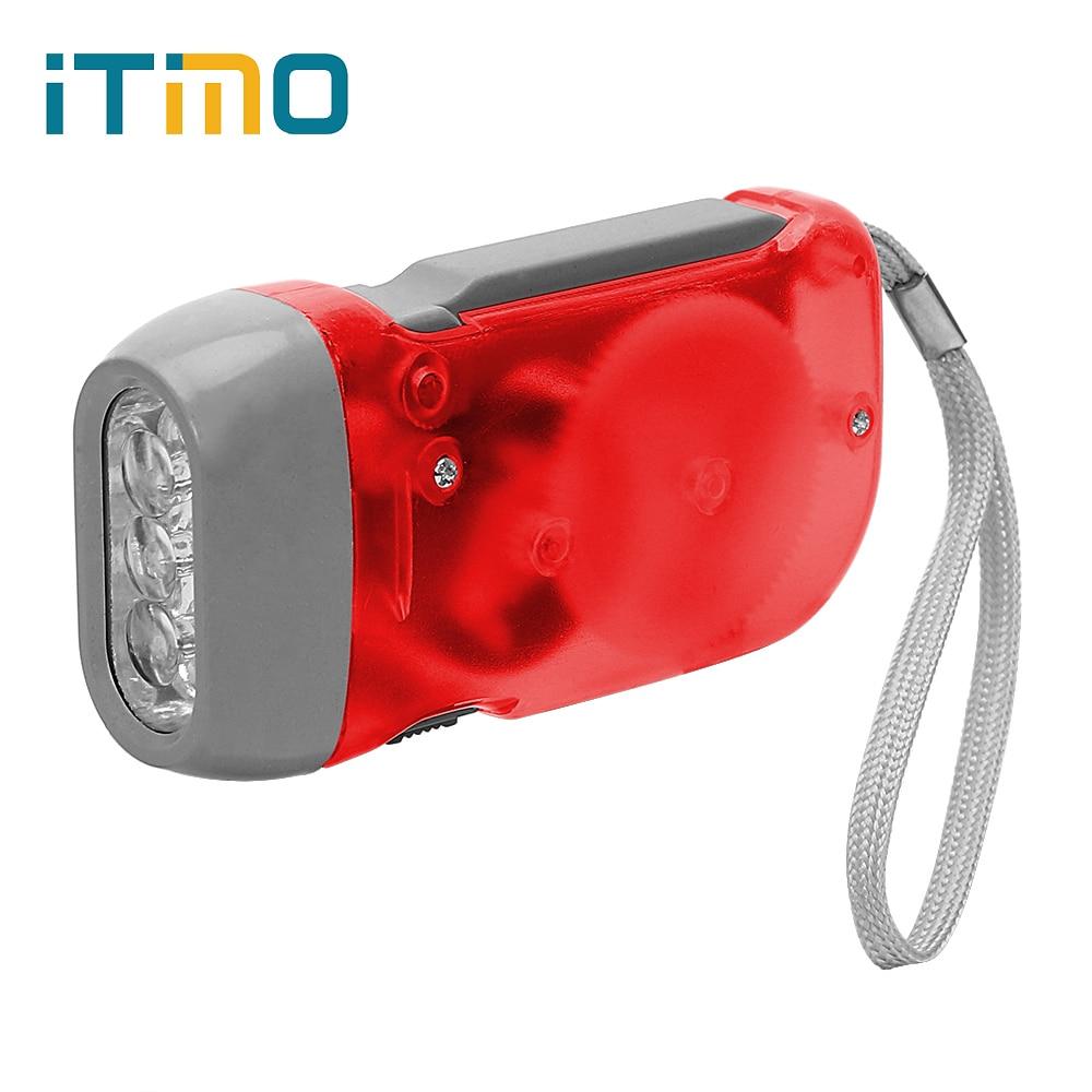 ITimo White 2 LED Flashlight Crank Power Torch Light New Hand Pressing Dynamo Camping Lamp Mini Portable Light