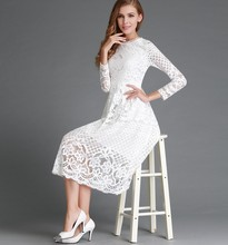 new mama style white and black solid o-neck sexy dress knee-length lace slim fashion comfortable female
