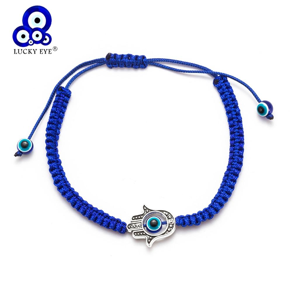 Lucky eye hamsa mão encantos pulseira mau olho azul vermelho thread trança corda corrente pulseira para mulheres presentes de jóias ey1541