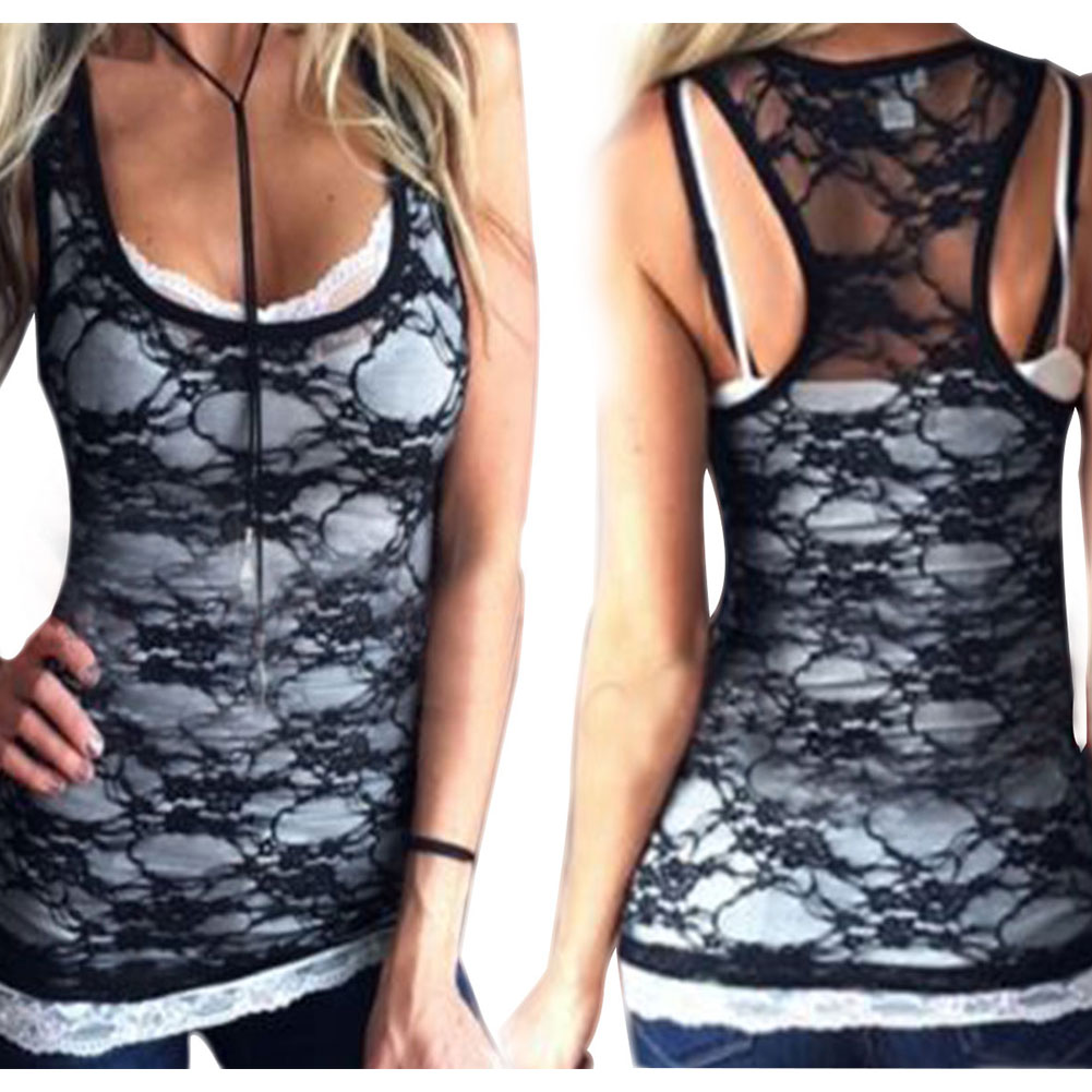 Tank top Women Fitness Elegant Flower Embroidery Lace Vest 2017 New Fashion Summer Tube Top Sleeveless Shirt Clothing For Lady