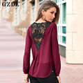 GZDL Fashion Spring Women Blouses Long Sleeve V Neck Shirt Lace Hollow Out Patchwork Casual Loose Ladies Blusa Feminina CL2525
