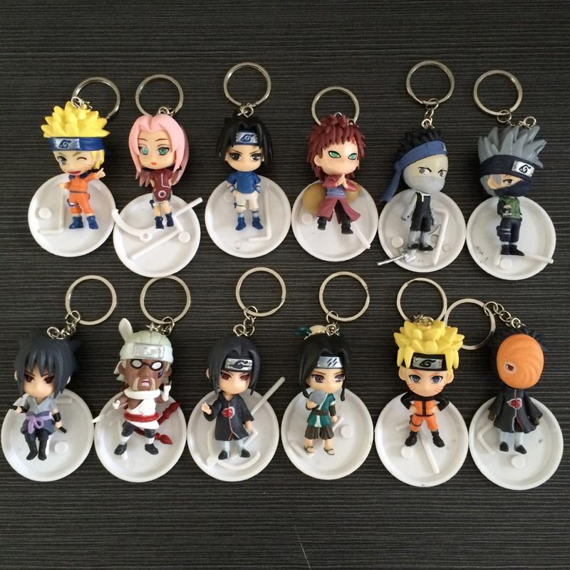 Full Set 12 Characters PVC Anime Naruto Action Figure Keychain Haku Sasuke Kakashi Model Toy Pendant Gift Collectibles