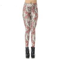 New Custom Casual High Waist Leggins Roses And Skulls Digital Legins Printed Women Leggings Women Pant