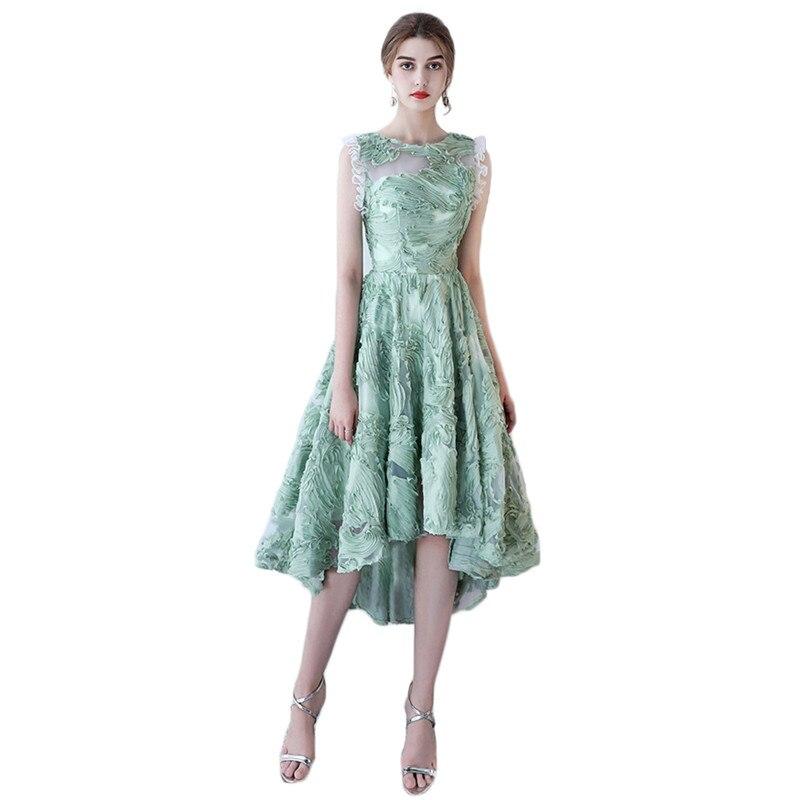 Robe de soirée femmes vert clair XS-2XL grande taille 19 nouveau printemps été Noble élégant mince fée hôte irrégulière robe Vestidos CX845