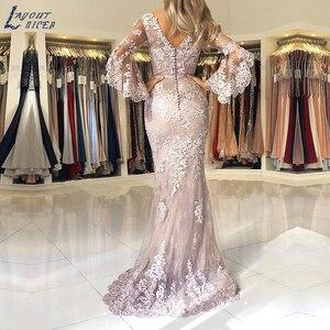 Image 2 - Mise en page robe de soirée forme sirène, tenue de soirée élégante haut parleur, dentelle appliquée, manches, célébrité suknie