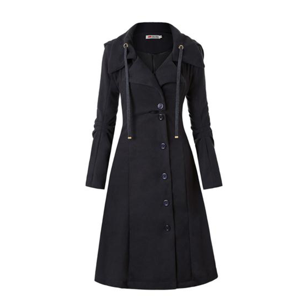 Plusee Fashion Long Medieval Trench Coat Women Winter Black Stand Collar Gothic Coat Elegant Women Coat Vintage Female 2019