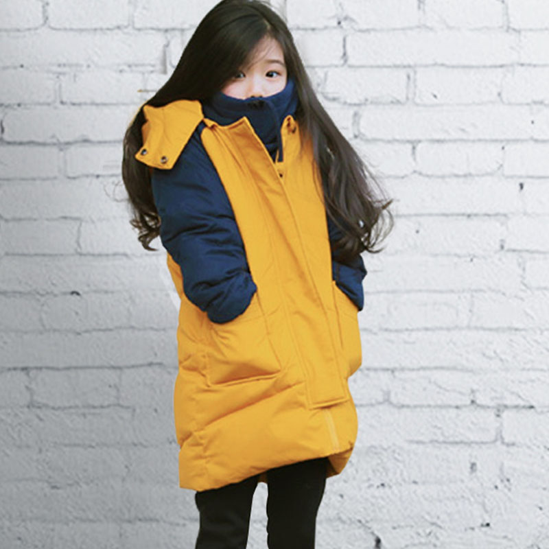hooded patchwork long sleeve children's winter jacket for kids warm parkas clothing baby girls thick outerwear coats padded tops walkman