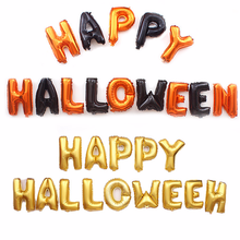 16inch Happy Halloween  Aluminum Foil Letter Balloon Set for Party Decoration,Pumpkin Yellow Mixed Color Combination