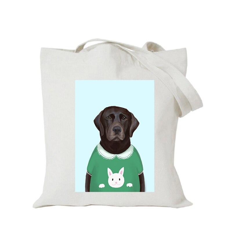 Origina kawaii canvas cartoon custom tote bag customize eco bags diy logo shopping bag with logo Dachshund Shepherd Dog Poodle (6)