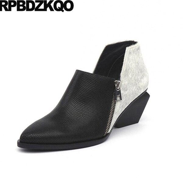 Épais Furry chaussures automne automne en cuir véritable marque de luxe femmes 2017 européen bout pointu court chaussons noir taille 34