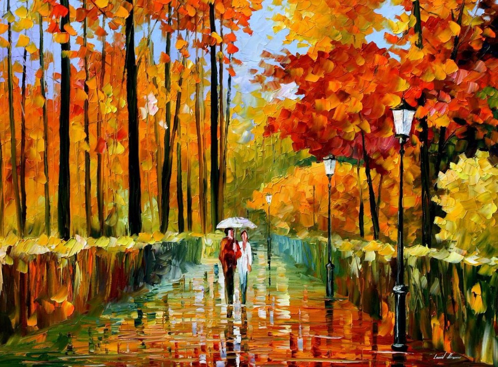 beautiful painting home decor autumn rain colorful oil