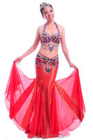 Beaded And Embroidered Belly Dance Costume Suit For Performance Practice Bra Belt Wrap Skirt KAMA Fish