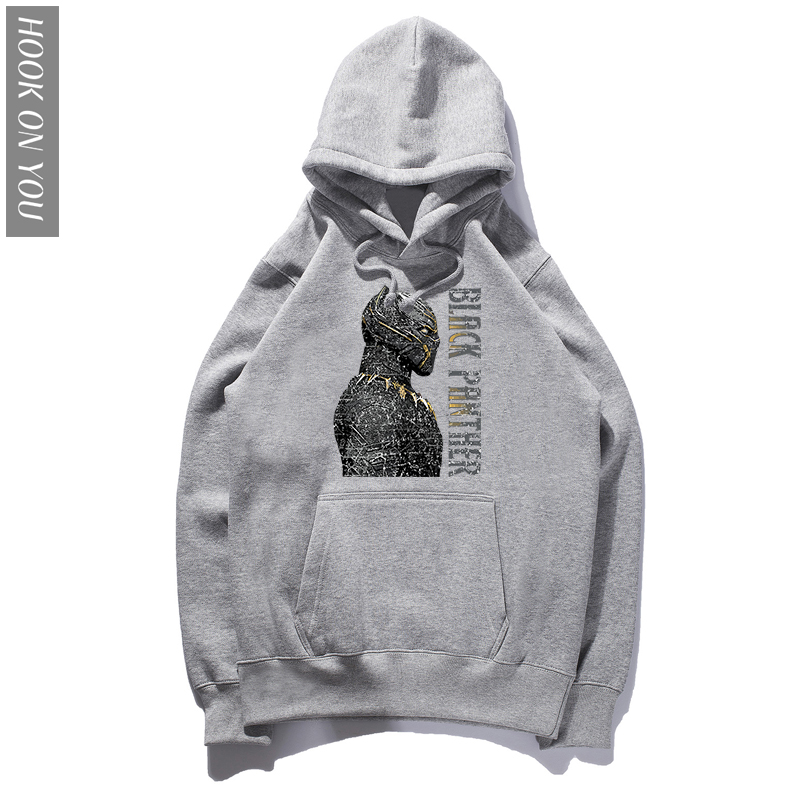 Black Panther Printed Hoodie Man's 2018 New Fashion Hip Hop Streetwear sweatshirts Cotton Harajuku Hooodies Loose Hoody