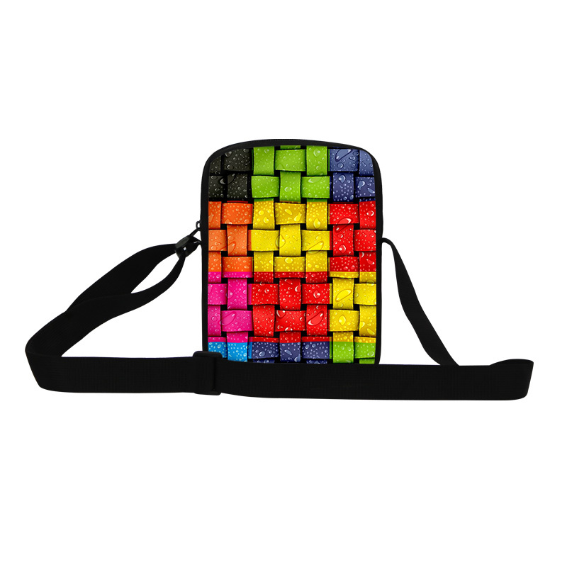 Designer small messenger bags for women square fashion colour cell print cross body bags for teens mens cool bag for shopping