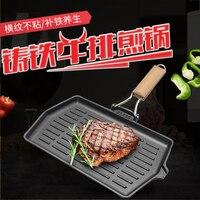Cast Iron Skillet Stripe Nonstick Steak Pot Cooker General Vegetables Frying Pan Kitchen Cooking Tools Cookware