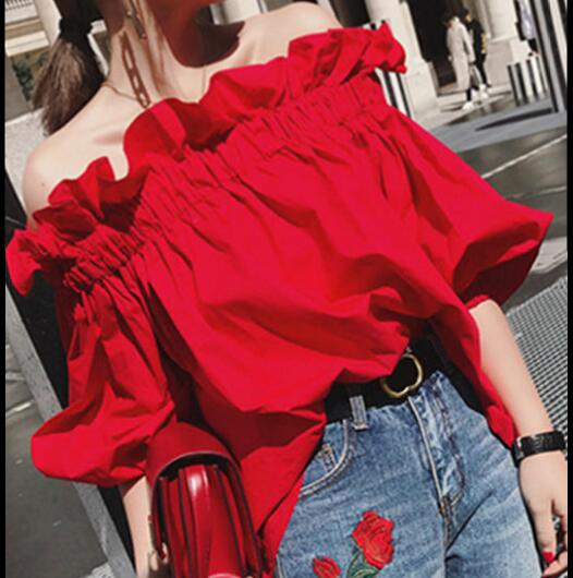Off Shoulder Tops Women Summer 2019 Fashion  Slash Neck Blouse Red Lantern Sleeve Loose Ruffle Blouses Womens Clothing AF95 girl