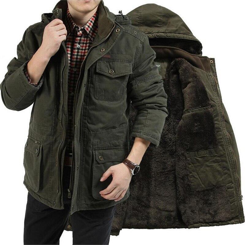 Merk Kleding Winter Parka Mannen Militaire Mid lange Multi zakken Winterjas Mannelijke Hooded Kraag Dikke Warme Windjack parka-in Parka's van Mannenkleding op  Groep 1
