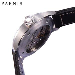 Image 3 - Mode main vent mécanique montres mâle 46mm Parnis 6498 main remontage mouvement noir cadran blanc chiffres lumineux hommes montre
